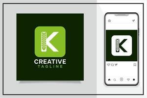 logo de lettre k avec conception de concept chiropratique vecteur