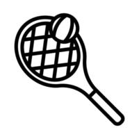 icône de ligne de raquette et balle de tennis sport vecteur