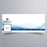 Couverture de modèle facebook vague abstraite bleue