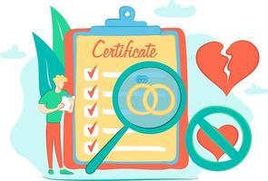 c'est le concept d'une relation de mariage et une illustration plate avec enregistrement de mariage et alliances et certificat de mariage vecteur