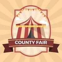 Modèle d'illustration d'affiche badge insigne du comté plat
