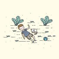 Vecteur de garçon et chien