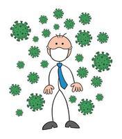 personnage d'homme d'affaires stickman portant un masque et il y a des virus autour de l'illustration de dessin animé de vecteur