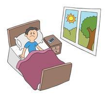 homme de dessin animé s'est réveillé le matin mais illustration vectorielle très en colère vecteur