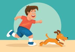 Garçon et son illustration vectorielle de chien