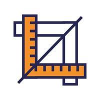 ligne de concepteur de règles géométriques et icône de style de remplissage vecteur