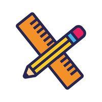 crayon et règle ligne de fournitures scolaires et icône de style de remplissage vecteur