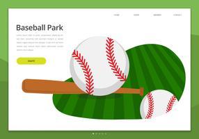 Page d'atterrissage du kit Web de l'interface utilisateur de Baseball Park. Parc de baseball. vecteur
