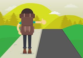 Illustration de randonneur auto-stop. Caractère de jeune homme pour un voyage en stop. Hitch Hiker vu de dos.