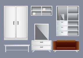 Éléments de design d'intérieur réalistes vecteur