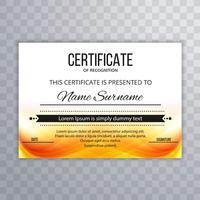 Fond de vague colorée beau modèle de certificat