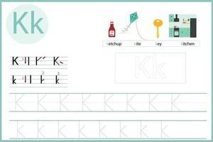 apprendre la lettre k vecteur