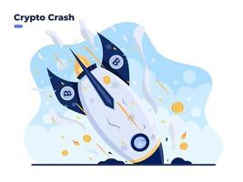 illustration plate de vecteur de crash de crypto. Le prix du bitcoin s'effondre et le prix de la volatilité de la crypto-monnaie rugit rapidement et tombe. perte de crypto investissement en crypto-monnaie chute du marché de la crypto à haut risque
