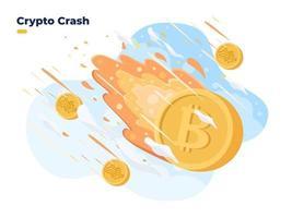 le prix de la crypto-monnaie chute. effondrement du prix de la crypto sur le marché boursier crise du bitcoin brûlure et crash de la crypto-monnaie l'investissement en crypto-monnaie est à haut risque vecteur