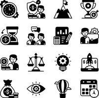 ensemble d'icônes de glyphe de travail d'entreprise et d'équipe vecteur