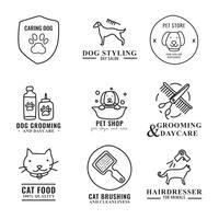 Logos de toilettage d'animaux griffonnés
