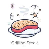 concept de steak grillé vecteur