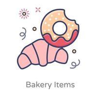 croissants et produits de boulangerie vecteur