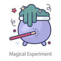 baguette magique avec chaudron vecteur