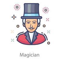 magicien aux pouvoirs magiques vecteur