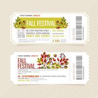 Billets de festival d'automne de vecteur