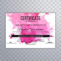 Modèle de certificat abstrait aquarelle coloré vecteur