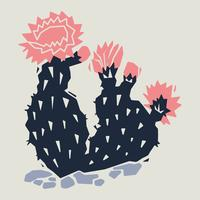 Linogravure De Cactus vecteur