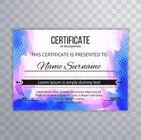 Vecteur de conception de modèle de certificat coloré abstrait