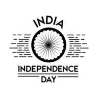 célébration de la fête de l'indépendance de l'inde avec le style de silhouette ashoka chakra vecteur