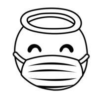 ange emoji portant un style de ligne de masque médical vecteur