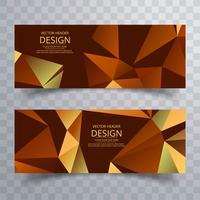 Jeu de bannières abstrait polygone géométrique coloré vecteur