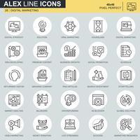 Thin line business et marketing des icônes définies pour site Web et site mobile et applications. Contient des icônes telles que Stratégie, Solution globale, Marché. 48x48 Pixel Parfait. AVC modifiable. Illustration vectorielle