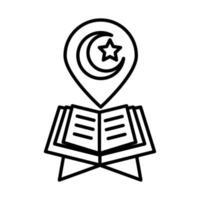 livre saint coran eid mubarak célébration religieuse islamique icône de style de ligne vecteur