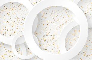 fond coupé en papier blanc moderne avec une forme de cercle réaliste texturée avec des paillettes de demi-teintes à points dorés vecteur