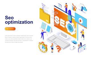 Concept isométrique de design plat moderne d'optimisation SEO. Concept de moteur de recherche et de personnes. Modèle de page de destination.
