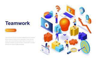 Concept isométrique de travail d'équipe design plat moderne. Concept de leadership et de personnes. Modèle de page de destination.