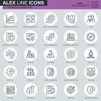Thin line business et marketing des icônes définies pour site Web et site mobile et applications. Contient des icônes telles que Vision, Mission, Planification, Marché. 48x48 Pixel Parfait. AVC modifiable. Illustration vectorielle