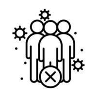covid 19 coronavirus prévention de la distanciation sociale garder la distance dans la société publique personnes épidémie propagation icône de style de ligne vectorielle vecteur
