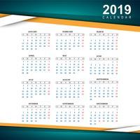 Beau modèle de calendrier coloré 2019 vecteur
