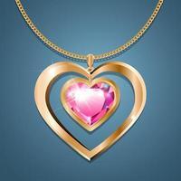 collier avec pendentif coeur sur chaîne en or. avec un bijou de couleur pourpre dans un cadre doré. décoration pour femmes. vecteur