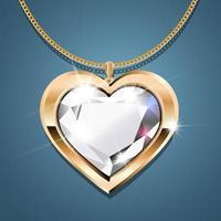 collier avec pendentif coeur sur chaîne en or. avec un diamant étincelant serti d'or. décoration pour femmes. vecteur