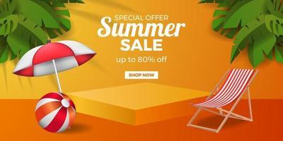 bannière d'offre de vente d'été avec affichage sur piédestal de podium avec fond orange vecteur