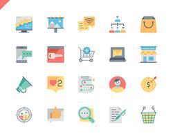 Simple Set Marketing Flat Icons pour site Web et applications mobiles. 48x48 Pixel Parfait. Illustration vectorielle