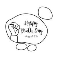 joyeux jour de la jeunesse lettrage avec style de ligne symbole poing main vecteur