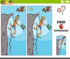 jeu éducatif de différences avec un grimpeur de dessin animé vecteur