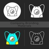 icône de thème sombre de sac à bandoulière de marque vecteur