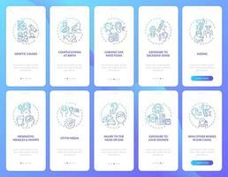 Aspects des handicaps auditifs intégration de l'écran de la page de l'application mobile avec ensemble de concepts vecteur