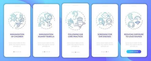 écran de la page de l'application mobile d'intégration de la précaution pour le handicap auditif avec des concepts vecteur