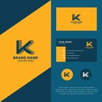 Logo de la lettre k de l'ombre des lignes 3D avec modèle de carte de visite vecteur