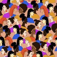 concept de modèle sans couture de la société unie de nombreuses femmes avec un modèle vectoriel de peau différente